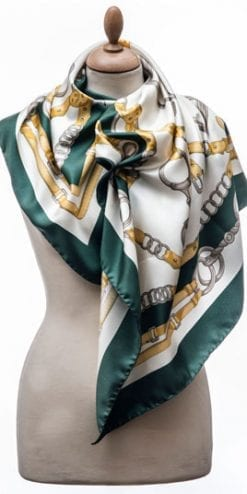 New Annata Cavaliere Silk Scarf Designer Collection from Lake Como, Italy: Snaffle and Stirrups in green and gold