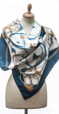 New Annata Cavaliere Silk Scarf Designer Collection from Lake Como, Italy: Double Bridle in navy, sky, gold and silver