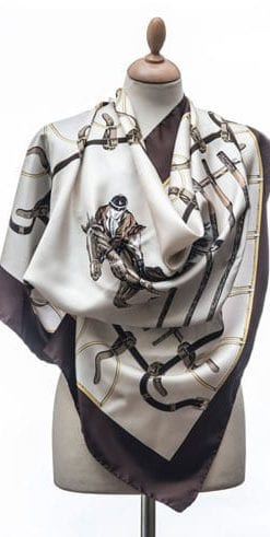 New Annata Cavaliere Silk Scarf Designer Collection from Lake Como, Italy: Show Jumper in brown and cream