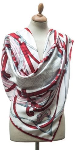 New Annata Cavaliere Silk Scarf Designer Collection from Lake Como, Italy: Spur and Snaffle in red, pink and silver
