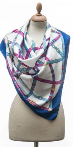 New Annata Cavaliere Silk Scarf Designer Collection from Lake Como, Italy: Strap and Buckle in blues and magenta