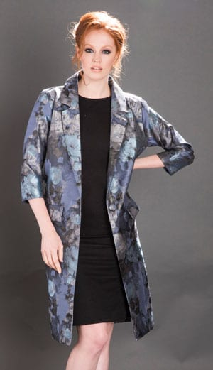New silvery blue jacquard Ava Coat in Moonlight Rose brocade from the Blue For You Collection by Nancy Mac