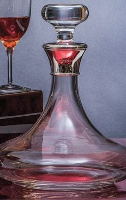 Fine Admiral's Decanter, English silver mounted and mouth-blown in English crystal
