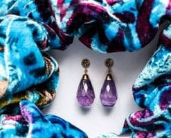 Stunning Arabella Earrings in amethyst and 14ct white gold