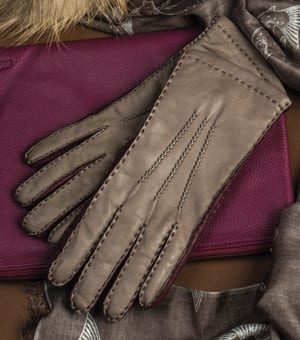 Gorgeous three-tone gloves by Southcombe of Somerset