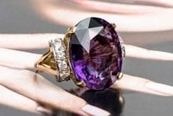 Spectacular 25 carat amethyst, diamond and 18ct yellow gold ring from Hatton Garden