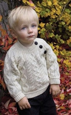 Soft merino wool crew neck sweater with buttons for baby boys and girls