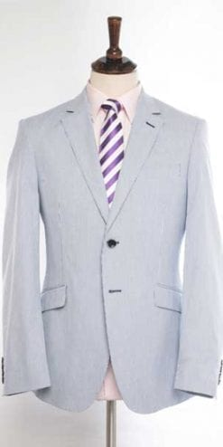 Cool new tailored summer jacket: the Richmond Blazer in blue and white striped cotton