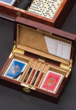 A winner for bridge players: smart Bridge Set in polished wood case, by Hillwood