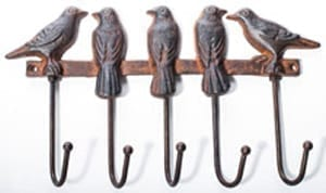 Cheery cast-iron bird hooks: a snip at £11 delivered