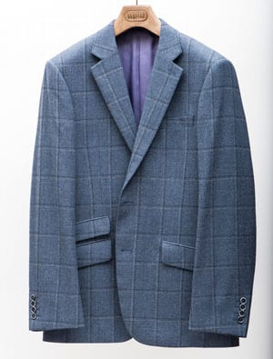 Well-cut new season pure wool jackets by English tailors: New Airforce Blue with Navy and Lilac