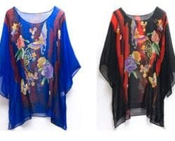 Enchanting new hand-painted silk Hawaiian Garden top