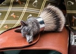 Finest handmade English pewter fox mask silver tip badger shaving brush