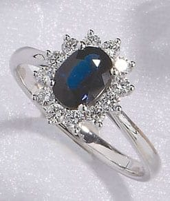 The Heritage Collection: Enchanting blue sapphire and diamond cluster ring set on 18ct white gold