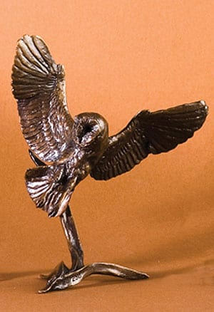 Barn Owl Swooping: English limited edition bronze