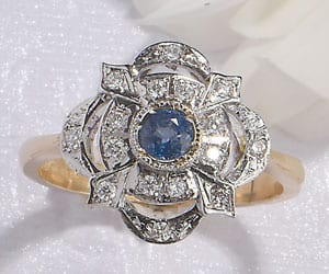 The Heritage Collection: Elegant Art Deco style blue sapphire and diamond ring set in 18ct white gold