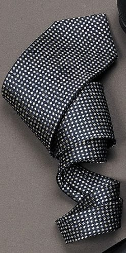 Navy Silk Tie With Silver and Light Blue Diamonds