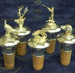 English sterling silver bouchon: fine sporting bottle stoppers