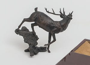 Limited edition bronze 'Stag' by Michael Simpson.