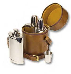 Daines and Hathaway English leather triple bar set of three flasks