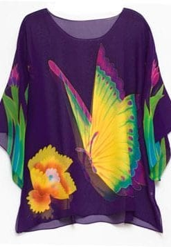 Hand-painted sheer silk Tropical Butterflies top from Hawaii, only £39