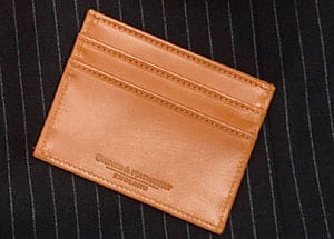 Double sided card case in English bridle leather