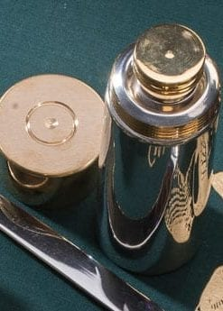 Smart English pewter and brass shotgun cartridge flask from the English Pewter Company: 4oz