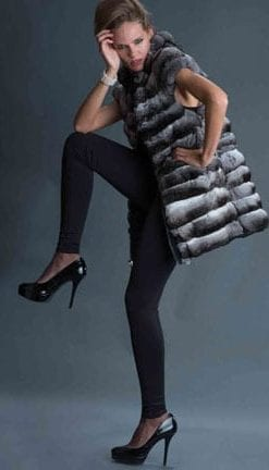 Haute Collection: Opulent Fur: Luxurious handcrafted long chinchilla gilet