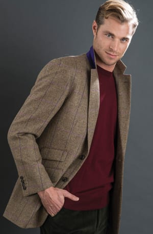 The new season's jackets: the ultra-cool brown herringbone with lilac overcheck