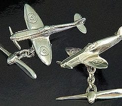 Handmade sterling silver Spitfire fighter plane cufflinks by Martick