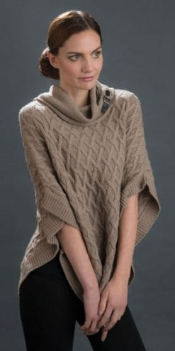 Smart and soft cashmere-silk blend textured roll-neck poncho from Italy