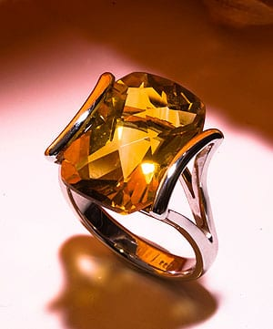 Hatton Garden Contemporary: 13 carat citrine and gold ring, £795