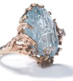 Fabulous large precious aquamarine, diamond and gold cocktail ring
