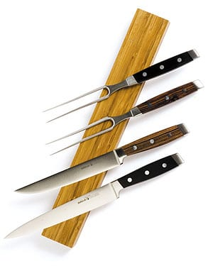 Stainless steel and blackwood carving sets