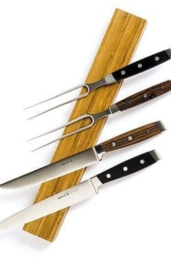 Stainless steel and kingwood carving sets