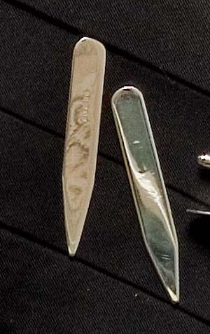 Fine English made sterling silver collar stiffeners