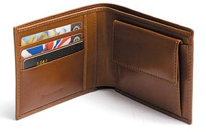 Finest handmade bridle leather compact wallet with coin purse