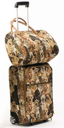 Canine Tapestry Mobile Weekender and Overnight Bag Luggage Set