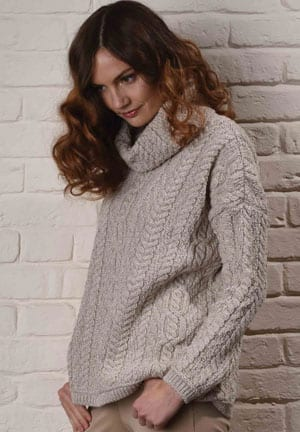 Wool Power: Step into the season's Aran knits: Fabulous oversize roll-neck sweater