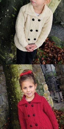 Beautiful little girl's soft Merino wool double-breasted coat-cardigan from Ireland