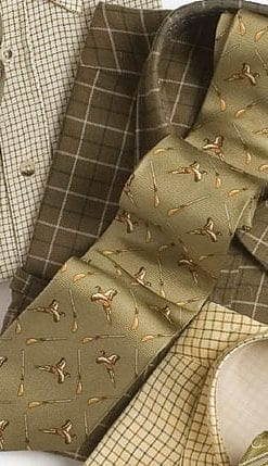 Flying duck and shotguns on olive pure silk tie