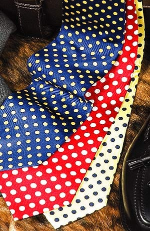 Pure silk printed spot ties by Fox & Chave