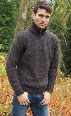 Superb Donegal wool half-zip sweater in the colours of an Irish landscape