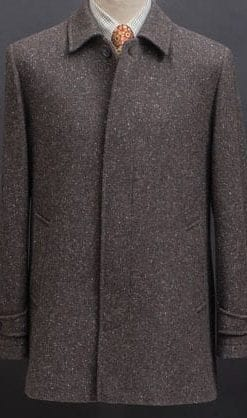 Smart, well-tailored, handwoven Donegal lambswool coat by Magee