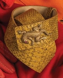 Edessa belt in natural python skin with iguana buckle, by Sassy Queen