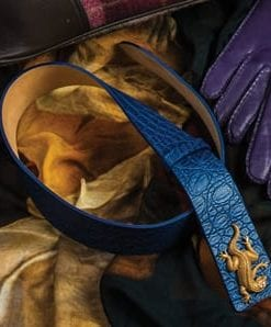 Gorgeous Edessa Iguana Belt in embossed blue leather, by Sassy Queen