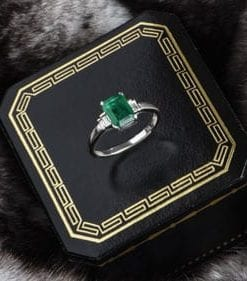 Fabulous emerald cut emerald and 18ct gold Thalassa Ring from Hatton Garden