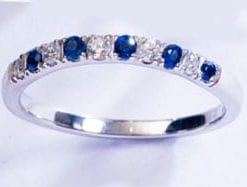 Royal Blue Ceylon Sapphire and Diamond Half Eternity Ring set on 18ct white gold