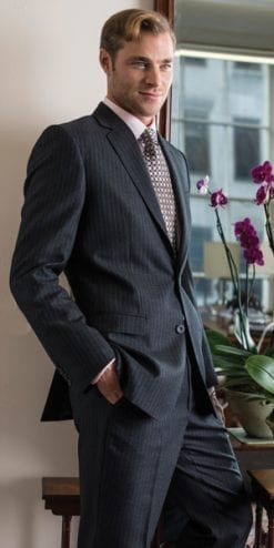 Six of the best new tailored City suits: the distinguished charcoal grey triple lilac pinstripe