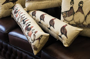 Fine Flemish woven tapestry bolsters: Grouse and Duck